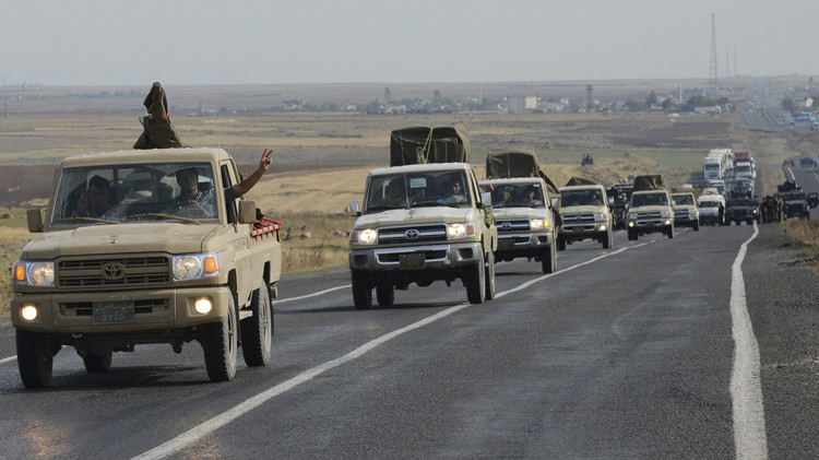 قوات البيشمركة الكردية تغادر عين العرب عائدة إلى العراق