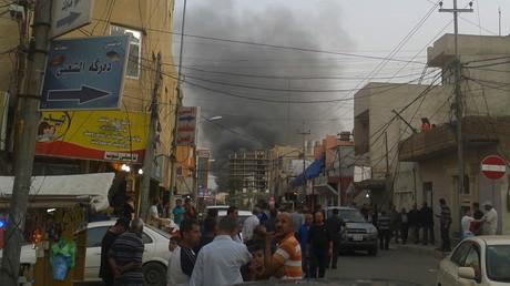 تصاعد الدخان بفعل التفجير في أربيل