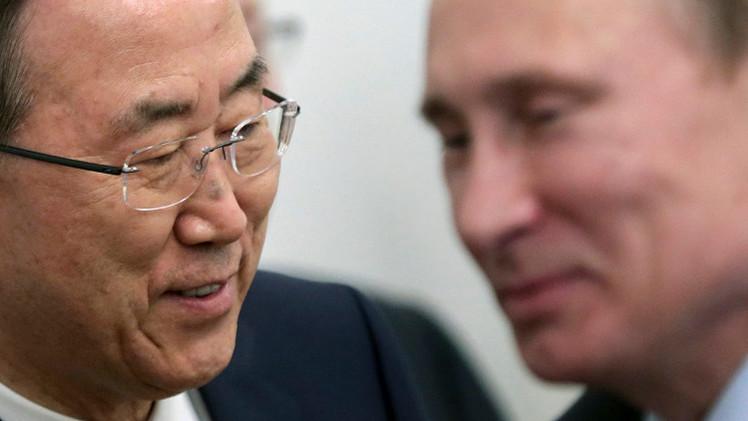 بان كي مون يبحث مع بوتين في موسكو الأوضاع في أوكرانيا وسوريا واليمن