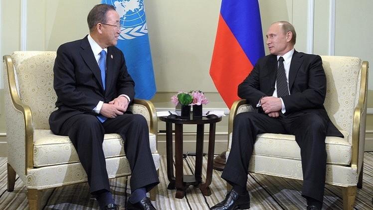 أوكرانيا وسوريا واليمن في صدارة لقاء بوتين مع بان كي مون