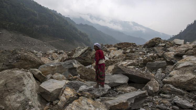 احدى قرى النيبال المدمرة