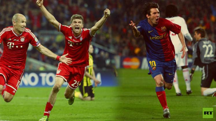 ميسي في 2009 يحتفل بالفوز على بايرن ومولر وروبن في 2013 يحتفلان بالفوز على برشلونة