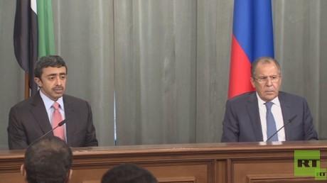 وزير خارجية روسيا سيرغي لافروف ونظيره الإماراتي عبد الله بن زايد آل نهيان
