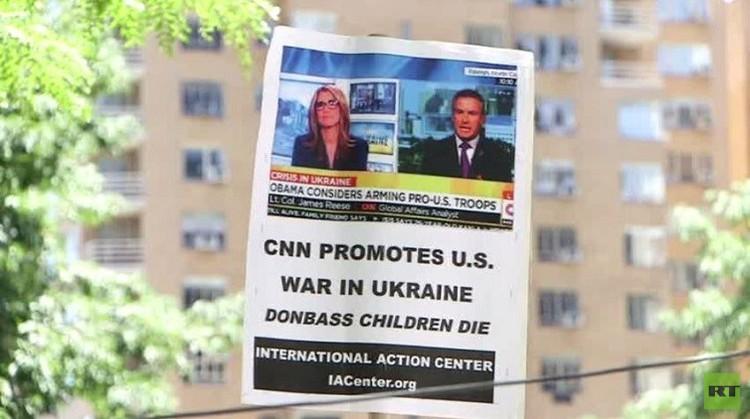 نيويورك.. محتجون يتهمون وسائل إعلام أمريكية بالترويج للحرب في أوكرانيا (فيديو)
