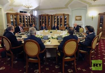بوتين خلال لقائه مع رؤساء وكالات الأنباء الأجنبية