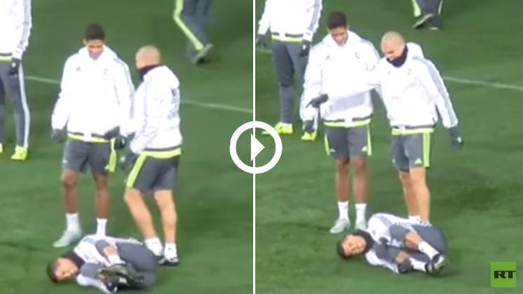 (فيديو) بيبي يتدخل بعنف ضد رونالدو في التدريبات