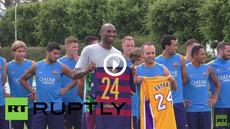 (فيديو) نجم السلة الأمريكي براينت يوقع لنجوم برشلونة