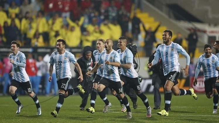 لاعبو الأرجنتين بعد تجاوز كولومبيا في دور الثمانية