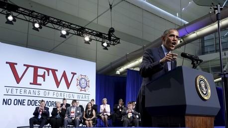 الرئيس الأمريكي باراك أوباما يخاطب محاربين قدامى في ولاية بنسيلفانيا