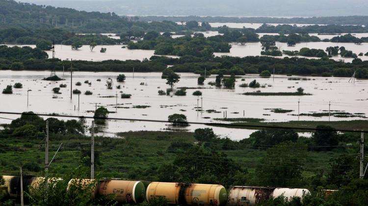 روسيا.. فيضانات في إقليم بريموريه.. والمياه تغمر حديقة حيوانات