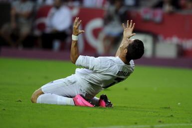 رونالدو بعد فشله في تسجيل كرة قوية