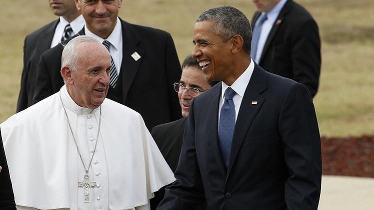 البابا يزور قاعدة عسكرية أمريكية ويلتقي أوباما