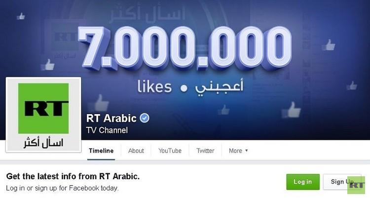 7 ملايين متابع لموقع RT على الفيسبوك