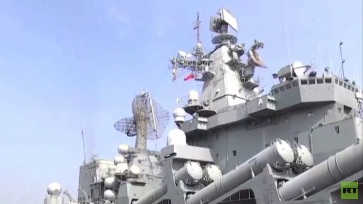 سفن حربية روسية تصل إلى ميناء هندي (فيديو)