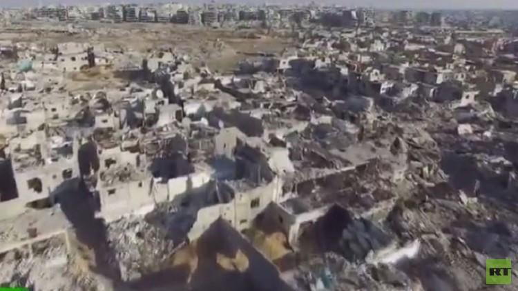RT تصور فيديو حصري لمنطقة جوبر في دمشق حيث المعارك الضارية