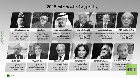 إنفوجرافيك: مشاهير فقدناهم عام 2015