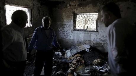 آثار الحريق في منزل عائلة دوابشة