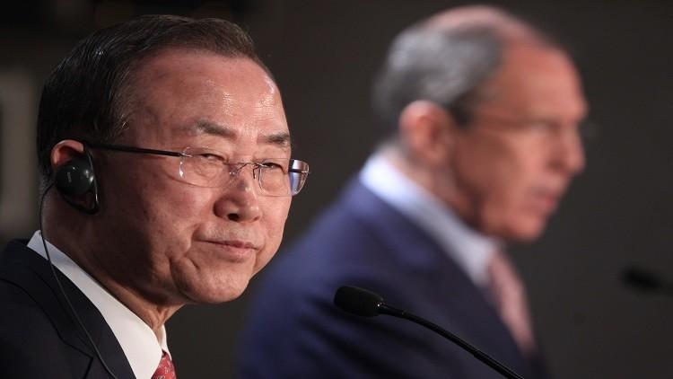 لافروف وبان كي مون يبحثان التحضير للمفاوضات السورية