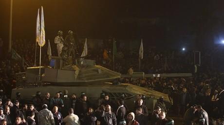 حفل تأبين لعناصر من حماس في حي التفاح شرق مدينة غزة