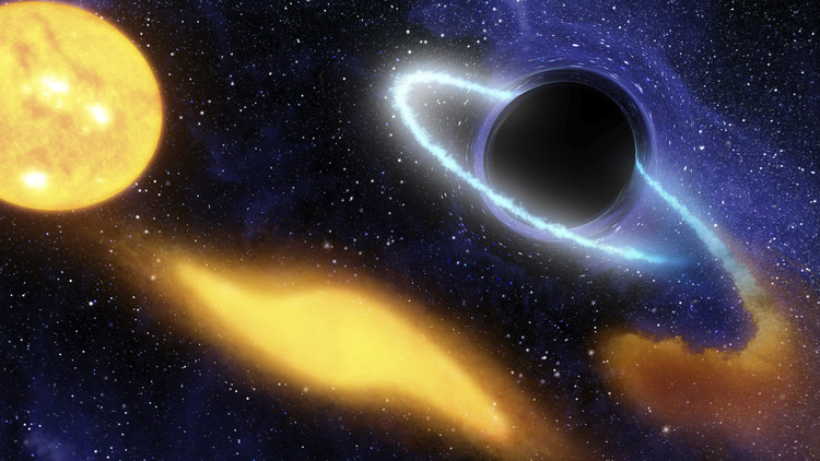 تصوّرُ رسامٍ لنجمة يمزقها ثقب أسود ثم يبتلعها