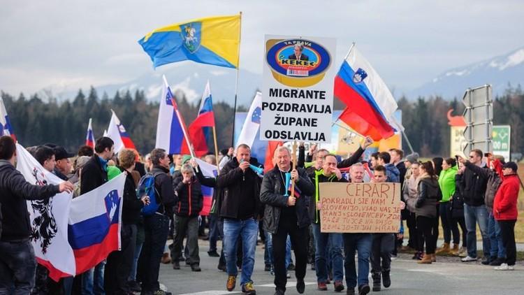 تظاهرة ضخمة في سلوفينيا احتجاجا على فتح مركز جديد للاجئين