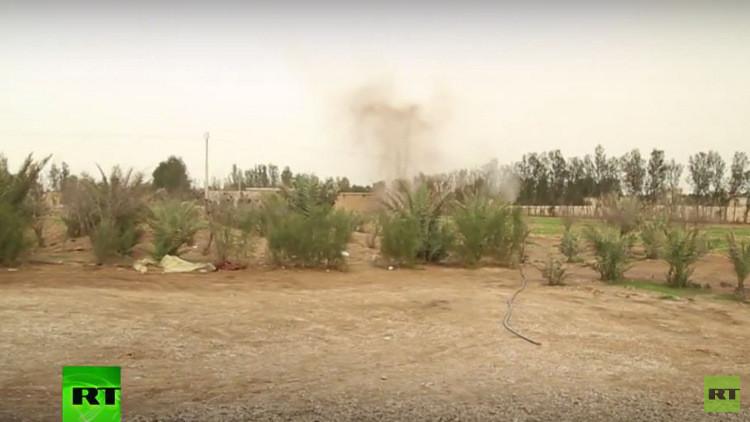 صورة انفجار قذيفة أثناء الهجوم على فريق