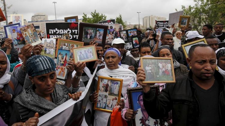 احتجاجت إسرائيليين من أصول إثيوبية في القدس على منعهم من جلب ذويهم
