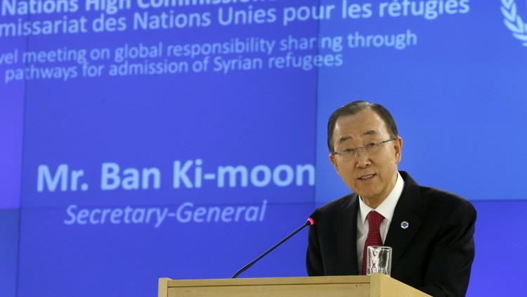 بان كي مون يدعو لمساعدة اللاجئين السوريين وإعادة توطين 480 ألفا منهم في أوروبا