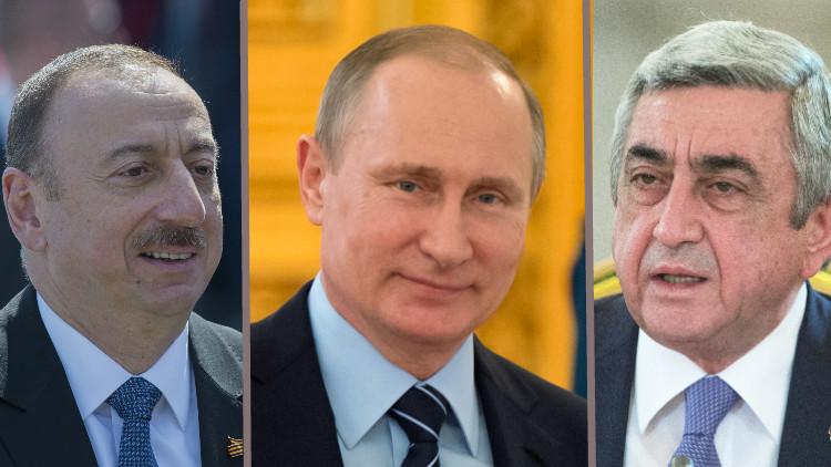 بوتين يدعو خلال اتصال هاتفي مع رئيسي أرمينيا وأذربيجان إلى وقف فوري لإطلاق النار