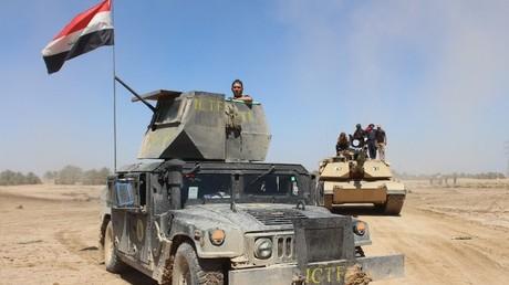 القوات العراقية بعد تقدمها في هيت