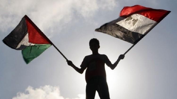 فتى يرفع العلمين المصري والفلسطيني