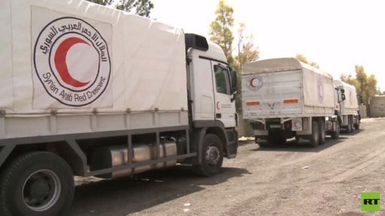 قافلة مساعدات لمدينتين محاصرتين قرب دمشق