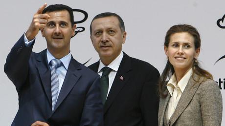 أسماء الأسد، رجب طيب أردوغان، بشار الأسد. صورة من الأرشيف