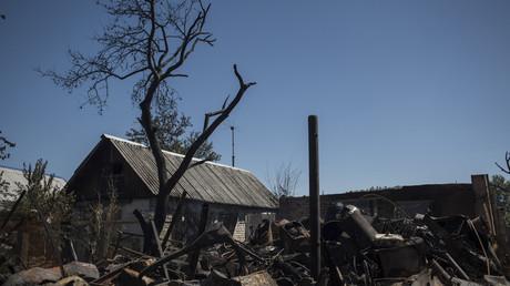 آثار لقصف الجيش الأوكراني على مناطق مأهولة في دونباس