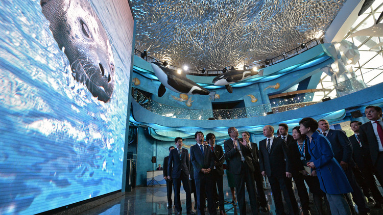 بوتين يفتتح أحد أكبر أحواض السمك في العالم