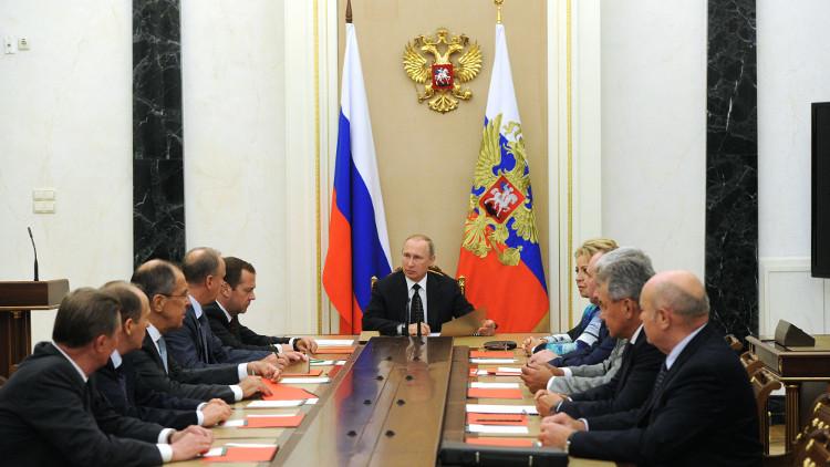 بوتين يبحث مع مجلس الأمن الروسي الأوضاع بسوريا