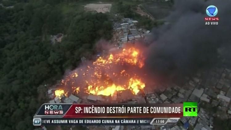 حريق يجتاح أحياء فقيرة في سان باولو