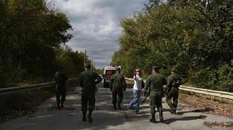 أولغا كوبتسيفا أثناء إحدى عمليات تبادل للأسرى بين دونباس وأوكرانيا
