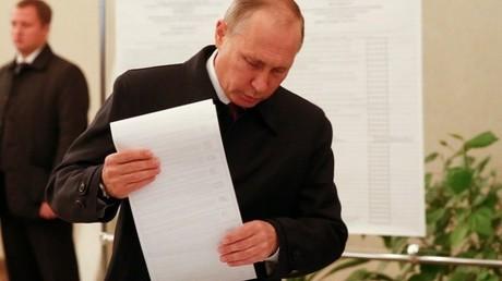 فلاديمير بوتين يدلي بصوته في انتخابات البرلمان الروسي عام 2016