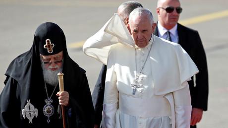 بابا الفاتيكان مع بطريرك عموم جورجيا