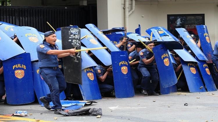 الشرطة الفلبينية تفرق تظاهرة ضد الوجود الأمريكي جزيرة مينداناو