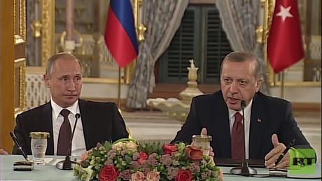 الرئيس الروسي فلاديمير بوتين مع نظيره التركي رجب طيب أردوغان