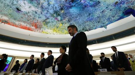 صورة من اجتماع استثنائي لمجلس حقوق الإنسان التابع للأمم المتحدة عقد في 21 أكتوبر/تشرين الأول لبحث الوضع في حلب
