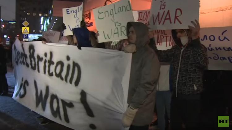 احتجاج أمام السفارة البريطانية في موسكو