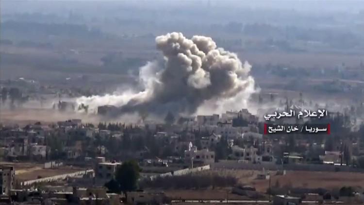 غارات الجيش السوري على المسلحين في خان الشيح