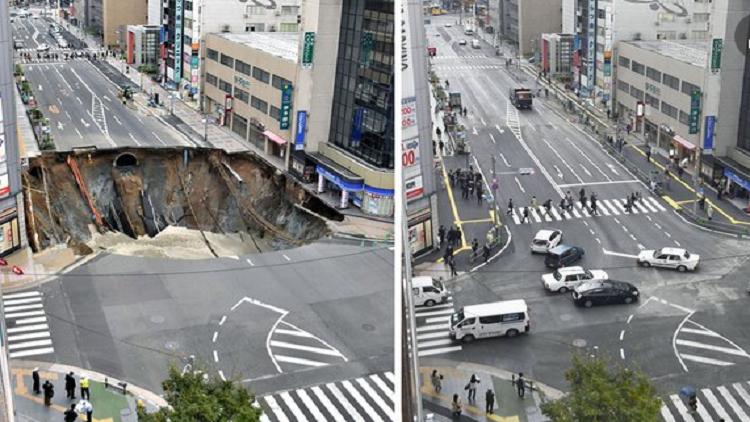 اليابان تصلح حفرة الأرض العملاقة في يومين فقط