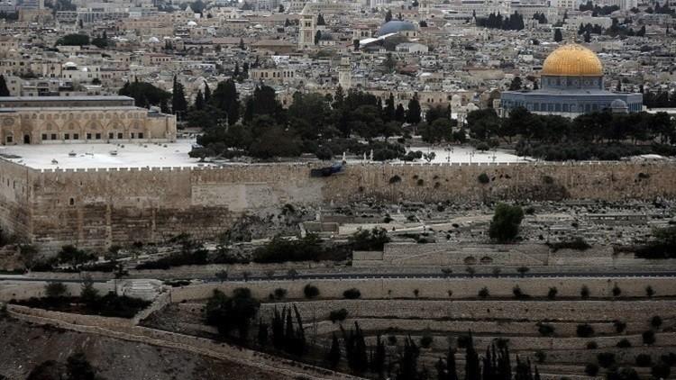 منظر عام للقدس القديمة يظهر فيه جزء من المسجد الأقصى مع قبة الصخرة