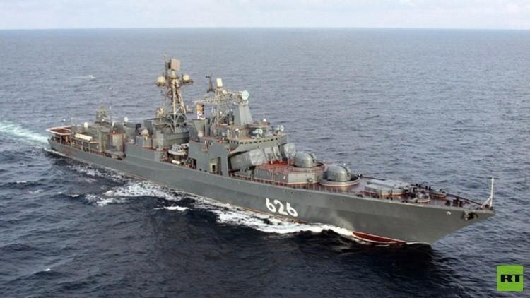 سفينة حربية روسية تنقذ سفينة أوكرانية في المتوسط
