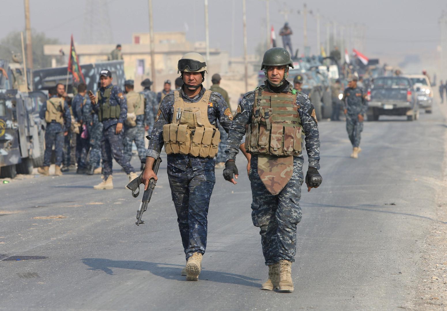 قوات الشرطة الاتحادية العراقية في ضواحي الموصل