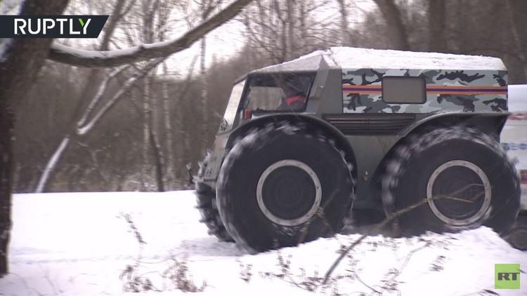 روسيا تبتكر عربة خاصة لإنقاذ غرقى الجليد